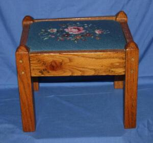 Needlepoint Craftsman style foot stool