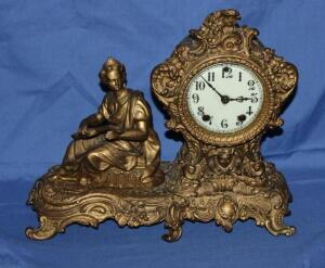 W. L. Gilbert Clock Co. cast mantle clock, no key