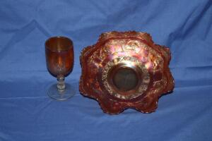 "9"" ruffled edge Carnival Glass bowl"
