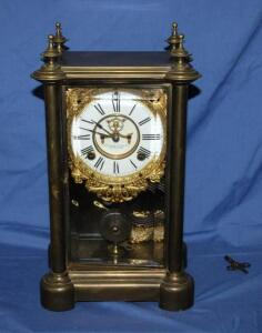 Ansonia clock with bevel glass front