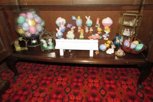 Easter Hallmark and other miniatures and glass display