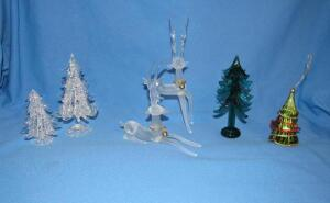 Frosted glass reindeer, blown glass trees