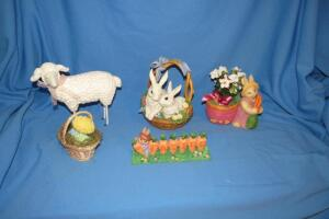 Easter decor and animal figurines