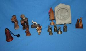 Miniature brass bells, wooden Made in Poland ornaments