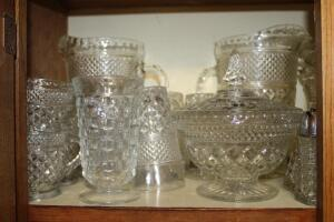 Collection of pressed glass pieces
