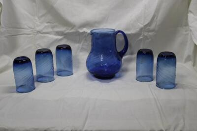 "Blue blown glass pitcher, 8"" T"