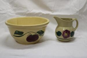 "Watt pottery apple bowl, 9"" W with crack"