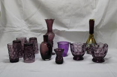 Amethyst glass pieces
