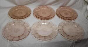 9 Pink Depression Glass plates