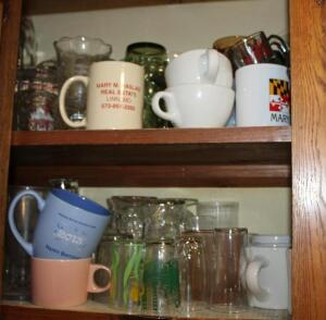 Coffee cups, juice glasses