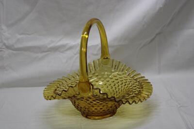 Fenton amber hobnail basket with applied handle