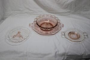 Pink Depression Glass pieces