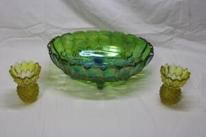 "Carnival Glass footed bowl 12"" L"