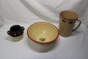 Enamel bowl and pitcher