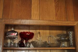 Assorted clear and red glassware