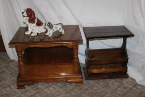 "Side table, has damage to top, 21"" W x 28"" L x 21"" T, ceramic dog figurines up to 12"" T"