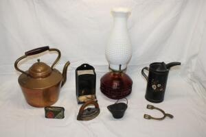 Oil lamp, wall mounted match holder and other decorative pieces