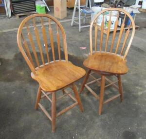 "Pair of swivel bar stools, 24"" seat height"