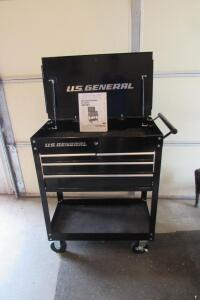 "U.S. General 30"" 4-drawer tech cart with locking casters"