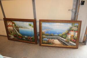 Oil on canvas landscape scenes in frames