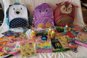 NIB Children's backpacks, colored pencils, activity books