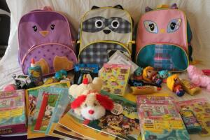 NIB Children's backpacks, colored pencils, activity and reading books