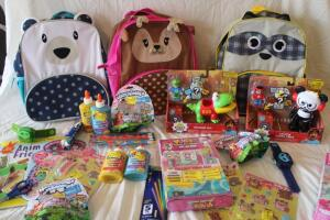 NIB Children's backpacks, puzzle, colored pencils, activity books
