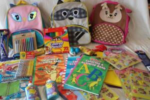 NIB Children's backpacks, colored pencils, Dr. Suess activity books