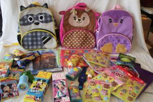 NIB Children's backpacks, foam letter boards, Mickey Mouse skill cards