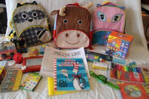 NIB Children's backpacks, J'adore wooden cars, markers, Dr. Suess activity book