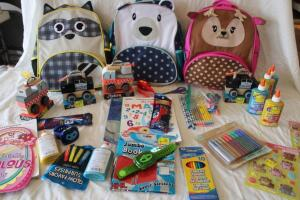 NIB Children's backpacks, J'adore wooden cars, markers, activity books