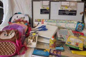 Teacher's supplies: NIB Children's backpack, classroom border, binders