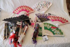 Large assortment of oriental folding fans