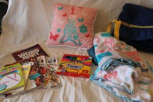 Word Search books, adult coloring books, plush pillow and blanket