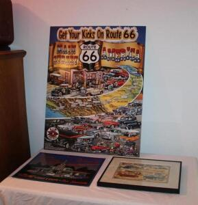 "Route 66 framed poster, 28"" T x 22"" W"