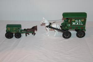 2 cast iron US Mail horse and wagon