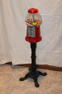 Gumball machine on cast iron base