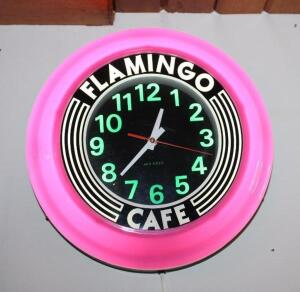 Art Deco Flamingo Cafe wall clock