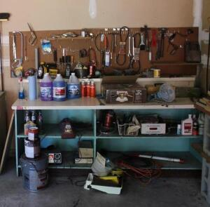 Contents of back garage wall and work bench