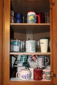 Assorted mugs and glasses