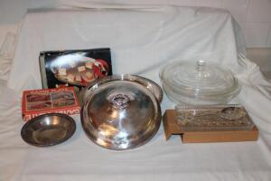 Pyrex and silver plated serving pieces