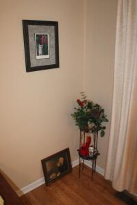 """The Cat and the Rose"" matted and framed"