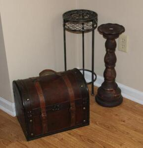 Wood and leather mini trunk