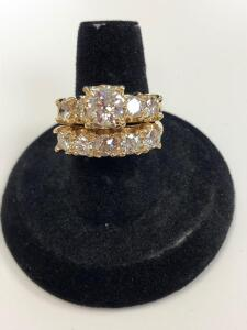 14 Karat yellow gold diamond engagement/wedding ring set