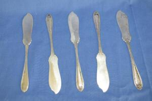5 sterling silver butter knives