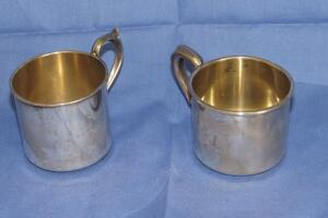 Pair of sterling silver baby cups