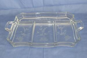 Etched 2-handled tray