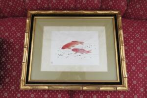 Koi fish framed and matted print