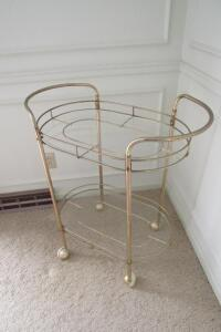 Metal and glass hostess cart