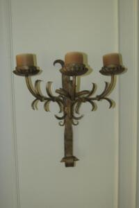 Pair of metal wall sconces